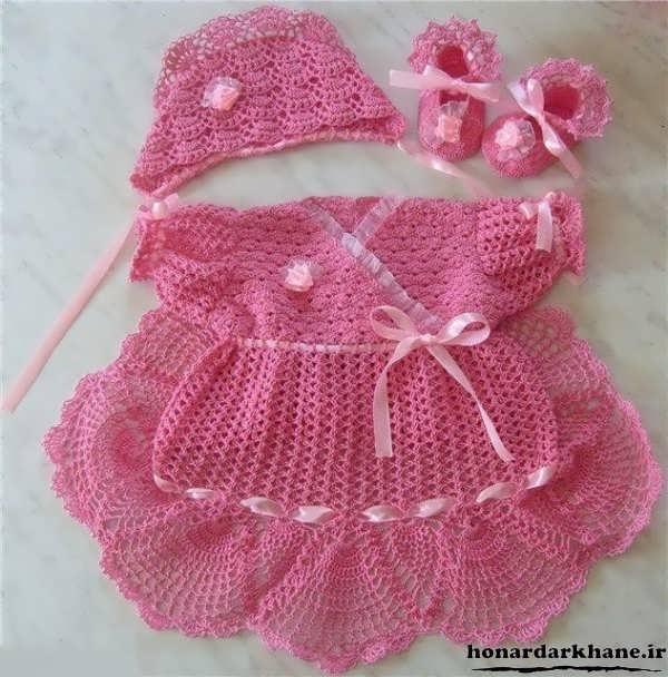 لباس مجلسی بافتنی نوزاد