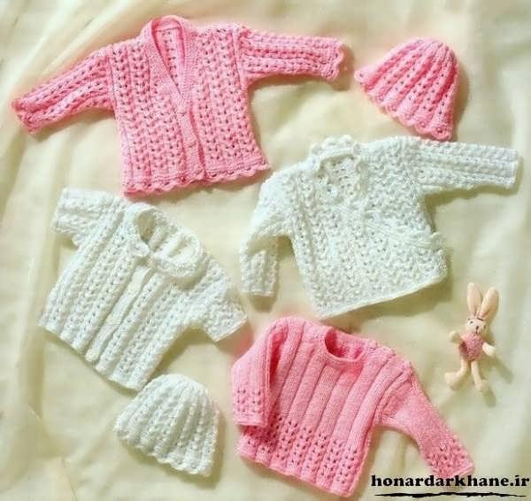لباس بافتنی نوزاد برای سیسمونی