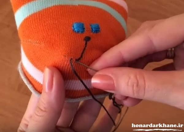 عروسک زیبا و جالب با جوراب