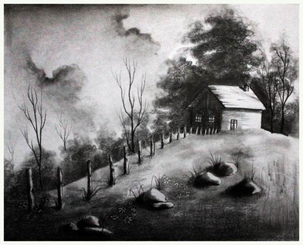 نقاشی منظره سیاه قلم