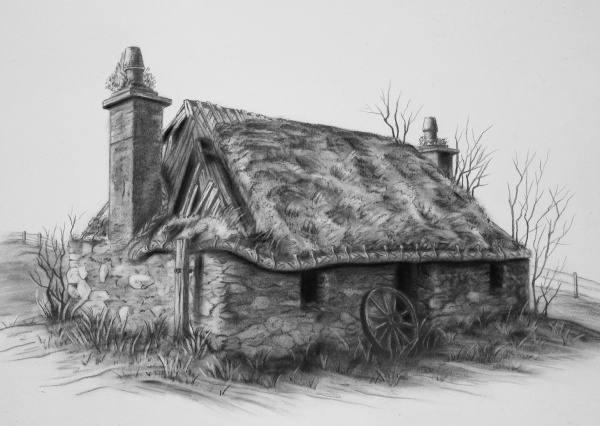 نقاشی کلبه سیاه قلم