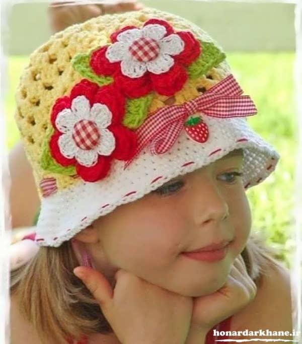 کلاه بافتنی دخترانه زیبا و شیک