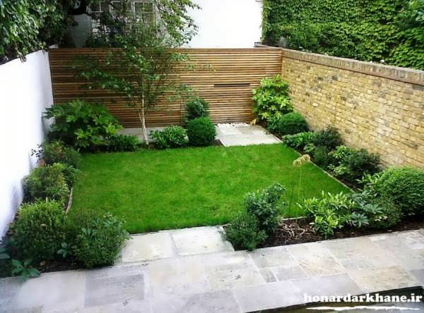 تزیین ساده باغچه حیاط