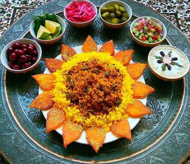 مدل مانتو می تزیین غذای ایرانی جدید و زیبا برای مهمانی و مجلس