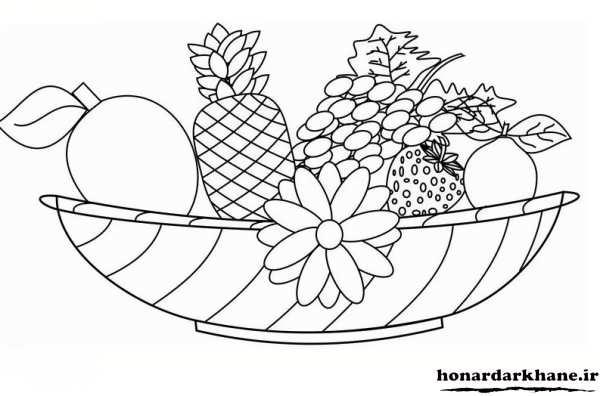 نقاشی سبد سیب مدل نقاشی و رنگ آمیزی شب یلدا برای کودکان