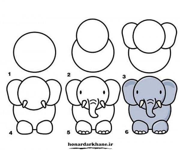 آموزش نقاشی فیل