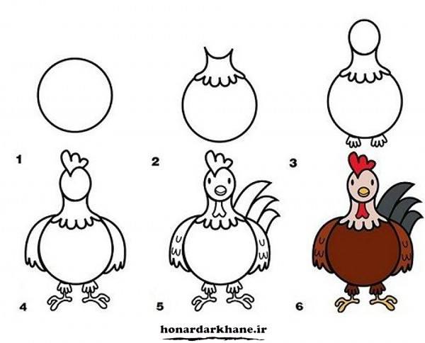 آموزش نقاشی خروس برای کودکان