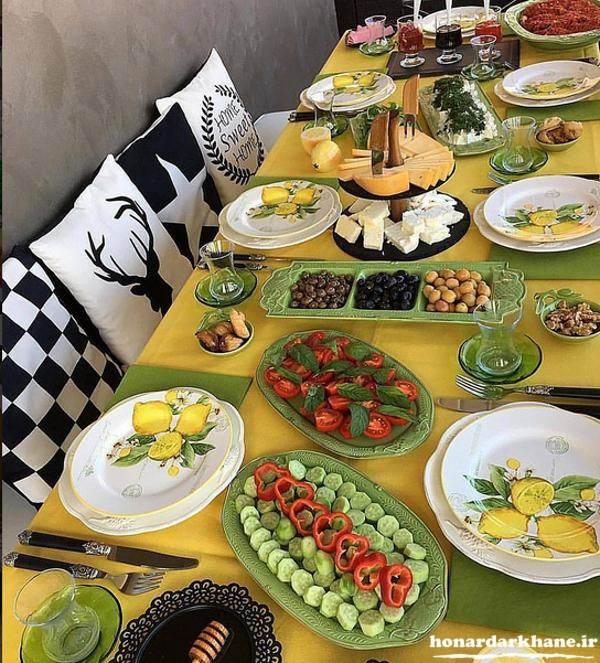 تزیین میز صبحانه زیبا و شیک