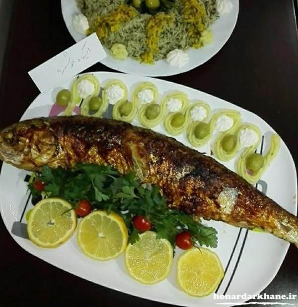 تزیین ماهی سرخ شده مجلسی