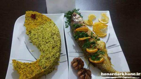 تزیین دیس سبزی پلو با ماهی