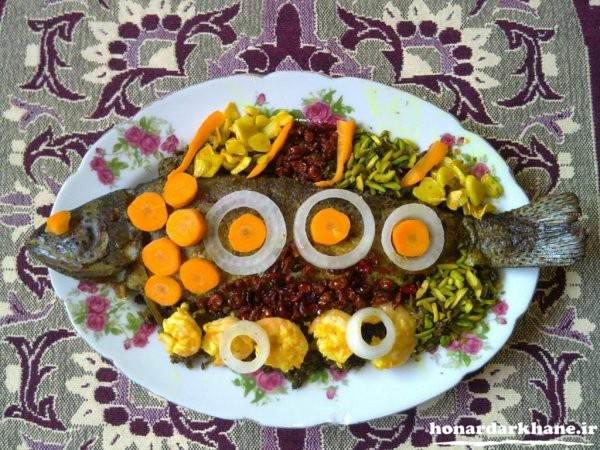 تزیینات ماهی سرخ شده