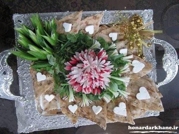 تزیین سینی نان پنیر سبزی عروس