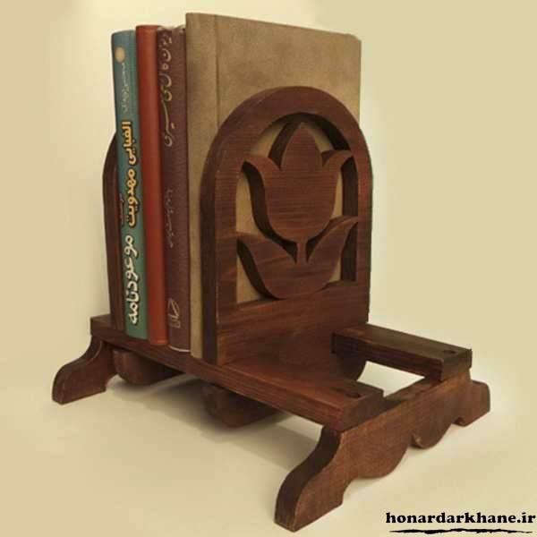 قفسه کتاب چوبی دکوری