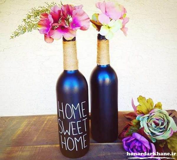 کاردستی گلدان با بطری