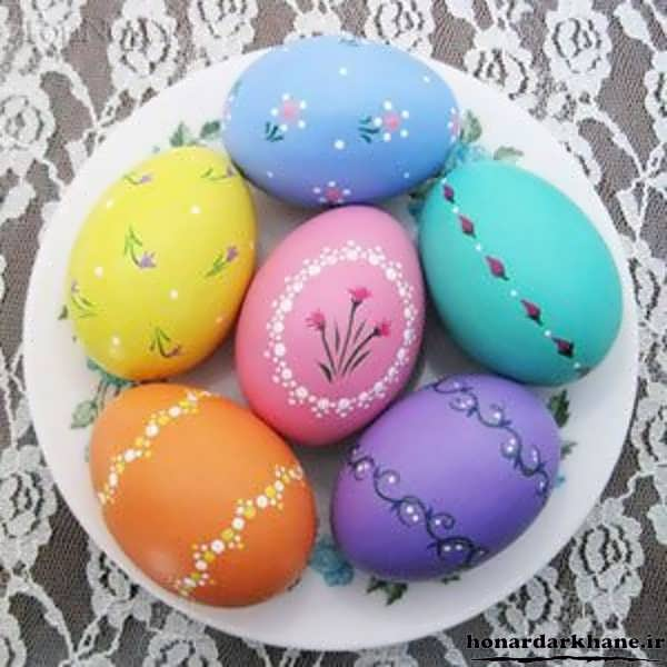 مدل تخم مرغ رنگی سفالی