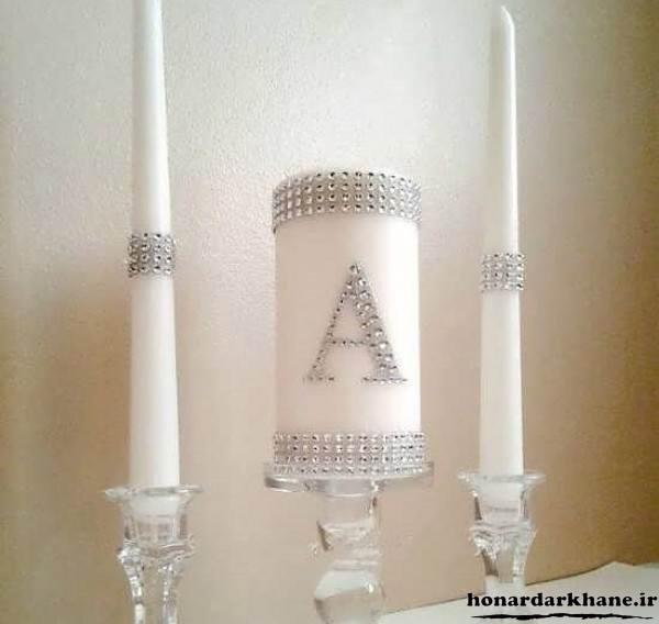 تزیین روی شمع با مروارید متری