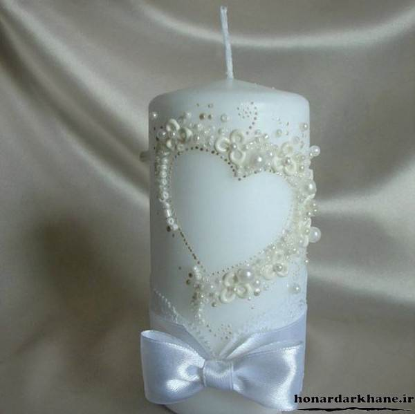 تزیین شمع با مروارید و روبان