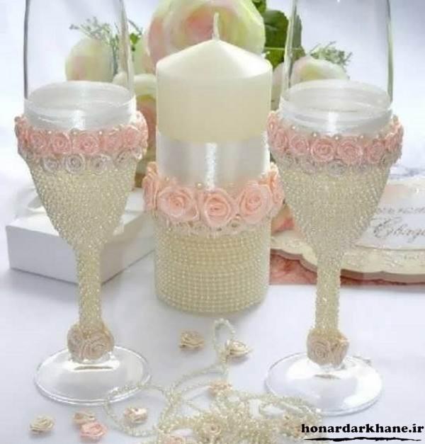 تزیین انواع شمع با مروارید