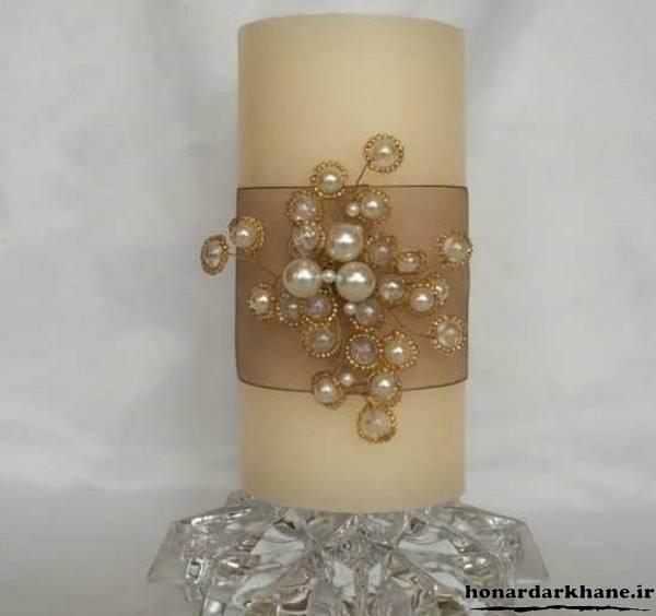تزیین شمع ساده با مروارید