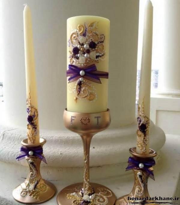 تزیین شمع های بلند با مروارید