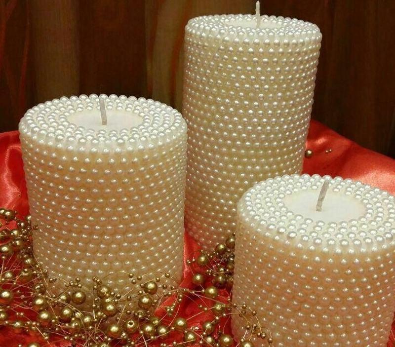 مدل مانتو می تزیین شمع با مروارید و نگین و ایده هایی برای شمع آرایی جدید