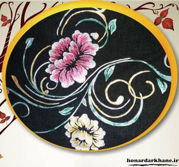 نقاشی گل روی پارچه
