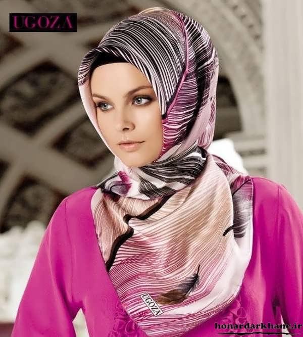 مدل بستن روسری چهار گوش