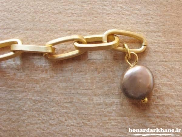 ساخت دستبند با زنجیر و مروارید