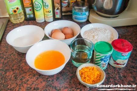 مواد لازم برای کیک پرتقالی