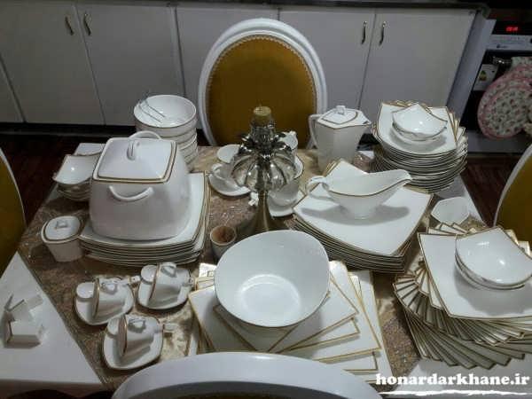 دیزاین سرویس چینی روی میز ناهارخوری