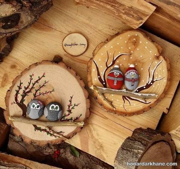 ساخت کاردستی با سنگ و چوب