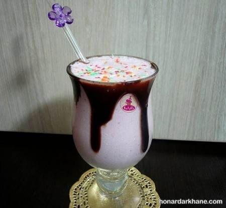 تزیین میلک شیک موز و شکلات