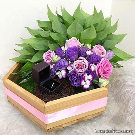 تزیین هدیه عروس با گل طبیعی