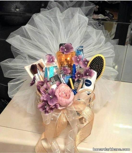 تزیین هدیه عروس با تور