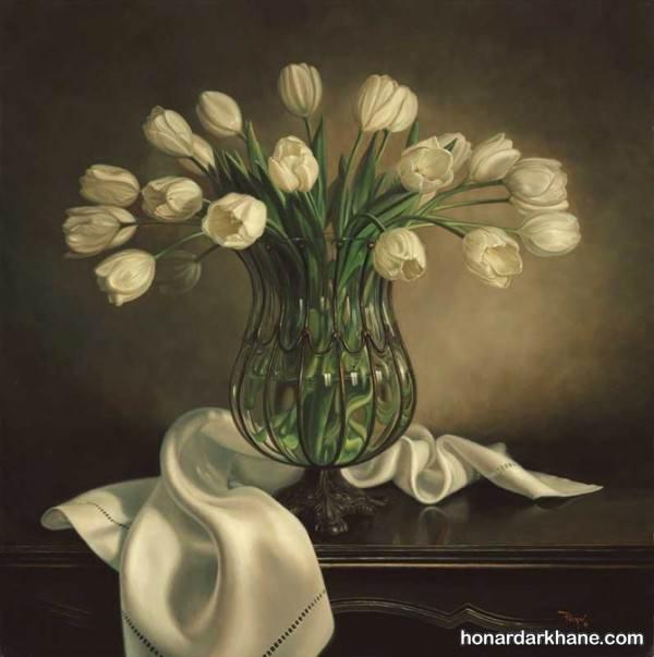 مدل نقاشی گل و گلدان