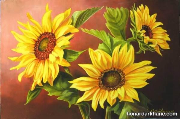 نقاشی گل آفتابگردان