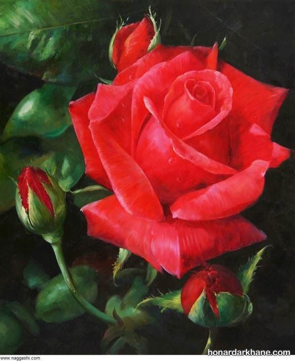 مدل نقاشی گل رز با مداد رنگی