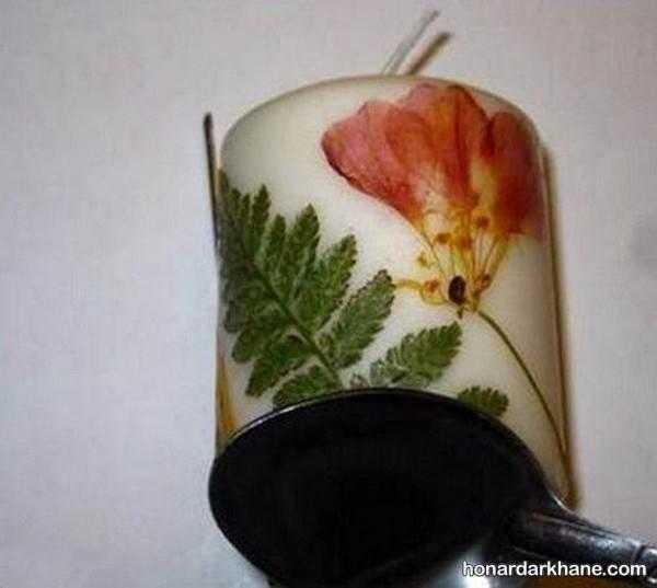 تزیینات شمع با گل خشک