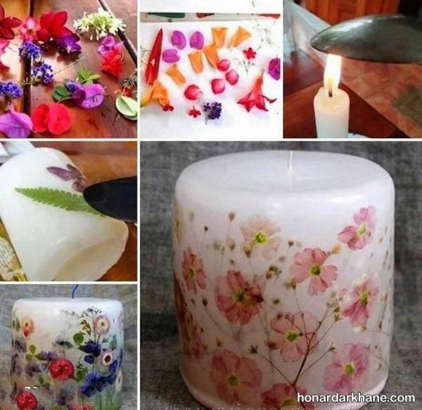 تزیین شمع با گل خشک