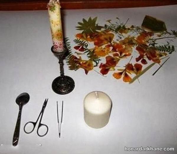 دکوپاژ شمع با گل خشک