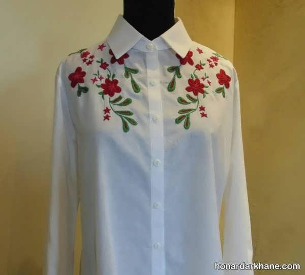 مدل گلدوزی ساده روی لباس