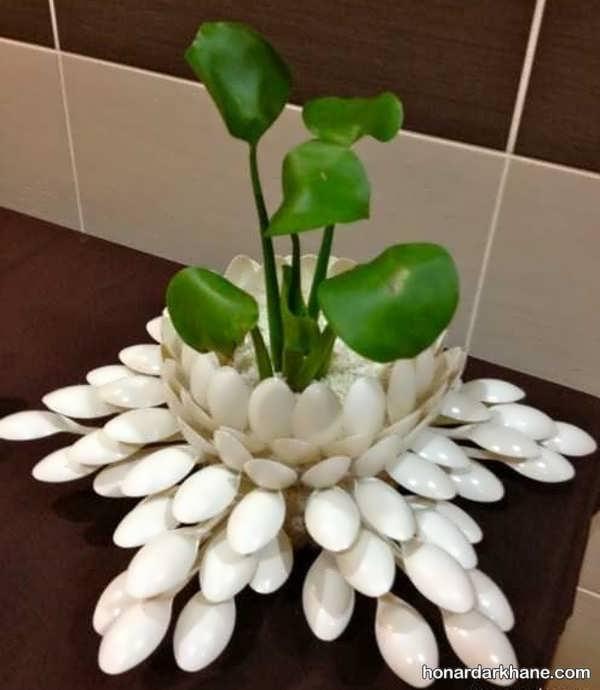آموزش ساخت گلدان با قاشق یکبار مصرف