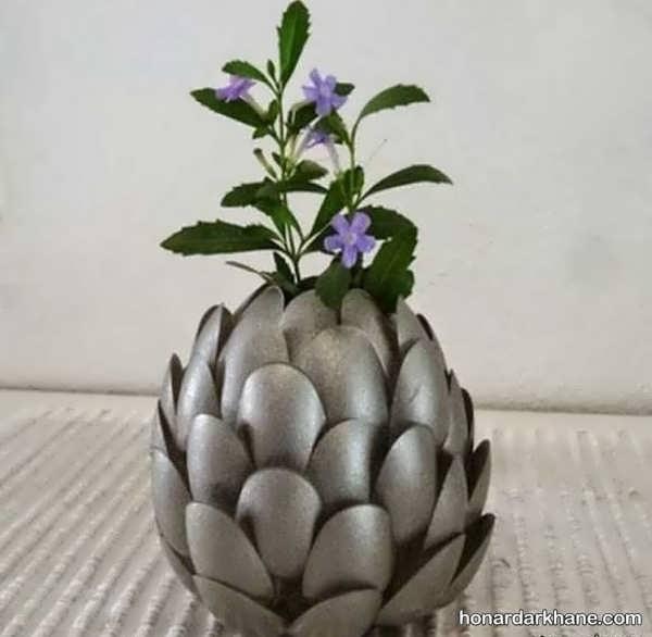 ساخت گلدان با وسایل ساده و دور ریختنی