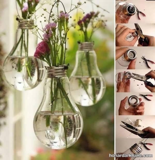 آموزش ساخت گلدان با لامپ سوخته