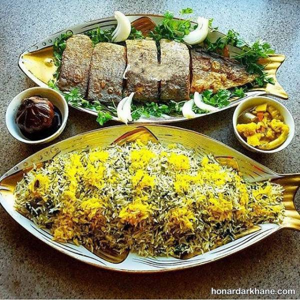 تزیین دیس برنج به شکل ماهی