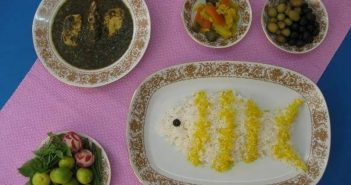 تزیین برنج به شکل ماهی