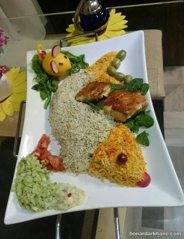 تزیین برنج با طرح ماهی