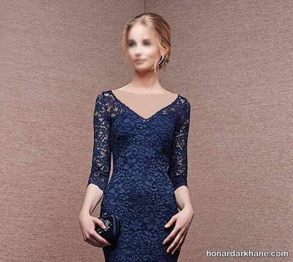 لباس مجلسی یقه وآستین گیپور مدل یقه لباس مجلسی زنانه و دخترانه با طرح های جدید و زیبا
