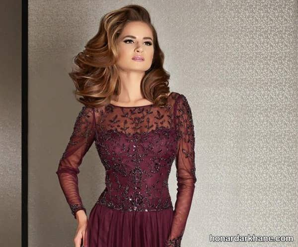 پیراهن بلند یقه حریر مدل یقه لباس مجلسی زنانه و دخترانه با طرح های جدید و زیبا