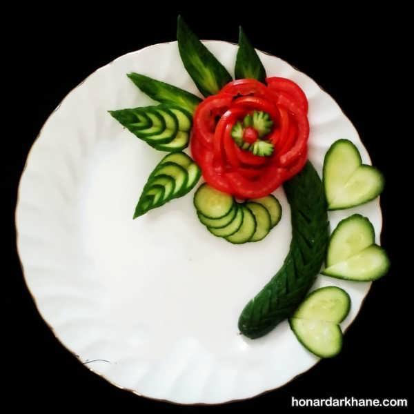 تزیین صبحانه با خیار و گوجه